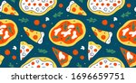 pizza pattern  colorful doodle... | Shutterstock .eps vector #1696659751
