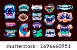 terrible monster mouths. scary... | Shutterstock .eps vector #1696660951
