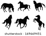 Sets Of Silhouette Horses  In...