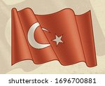 vintage flag of turkey.... | Shutterstock .eps vector #1696700881
