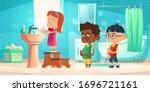 kids wash hands in bathroom.... | Shutterstock .eps vector #1696721161