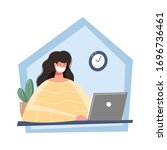 work at home. freelance concept ... | Shutterstock .eps vector #1696736461