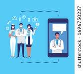 doctor online concept with... | Shutterstock .eps vector #1696750237