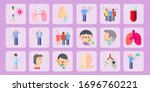 patient flat icon set on theme... | Shutterstock .eps vector #1696760221