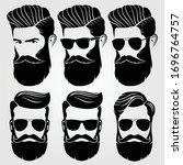 bearded men  hipster face.... | Shutterstock .eps vector #1696764757