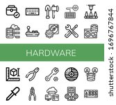 hardware icon set. collection... | Shutterstock .eps vector #1696767844