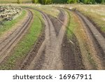 rural road fork - stock photo