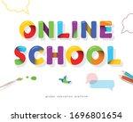 online school bright banner.... | Shutterstock .eps vector #1696801654