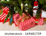 christmas presents wrapped in... | Shutterstock . vector #169681739