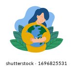 cute character of young woman...   Shutterstock .eps vector #1696825531