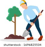 man planting tree. boys in...   Shutterstock .eps vector #1696825534