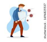 vector illustration fight covid ... | Shutterstock .eps vector #1696825537