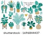 set of cute houseplants ... | Shutterstock .eps vector #1696844437