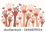 vector illustration of hands of ... | Shutterstock .eps vector #1696859014