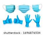 realistic blue medical face...   Shutterstock .eps vector #1696876534
