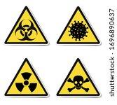 danger signs isolated white...   Shutterstock . vector #1696890637