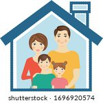 man and woman with kid with...   Shutterstock .eps vector #1696920574