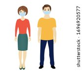 man and woman with medical... | Shutterstock . vector #1696920577