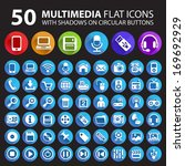 50 multimedia flat icons with...   Shutterstock .eps vector #169692929