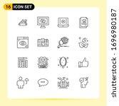 set of 16 modern ui icons...