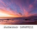dawn beach sky rainbow colors ... | Shutterstock . vector #169699211