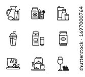 beverage icon pack made lines   Shutterstock .eps vector #1697000764