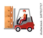 box package cargo in forklift...   Shutterstock .eps vector #1697017717