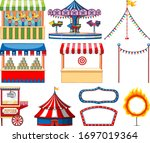 set of circus items on white...   Shutterstock .eps vector #1697019364