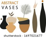 abstract trendy vases with... | Shutterstock .eps vector #1697021677