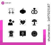 group of 9 modern solid glyphs...