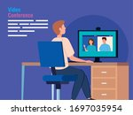 man in video conference from... | Shutterstock .eps vector #1697035954