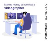 make money at home concept  a... | Shutterstock .eps vector #1697070577