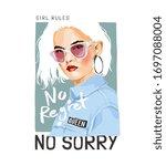 no regret slogan with girl in... | Shutterstock .eps vector #1697088004