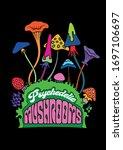 psychedelic mushrooms 1960s... | Shutterstock .eps vector #1697106697