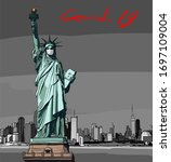 statue of liberty in a...   Shutterstock .eps vector #1697109004