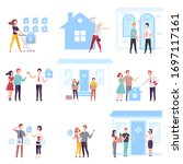 people buying or renting real...   Shutterstock .eps vector #1697117161