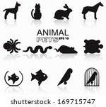 Stock vector animal pet silhouette set pictogram vector illustration eps 169715747