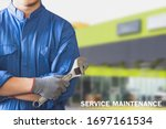 Small photo of Man mechanic inspection hold wrench for fix blue car for service maintenance insurance with car engine bonnet car.for transport automobile automotive image.