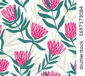 protea and eucalyptus leaves... | Shutterstock .eps vector #1697173084