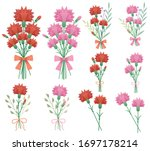collection of bouquets made of... | Shutterstock .eps vector #1697178214