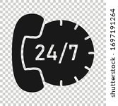 phone service 24 7 icon in flat ...