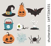 halloween elements vector... | Shutterstock .eps vector #1697206531