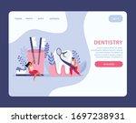 dental health flat landing page ...