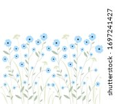 blooming flax and herbs on a... | Shutterstock .eps vector #1697241427