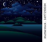 vector illustration. night... | Shutterstock .eps vector #1697250034