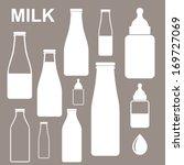 milk bottles. icon set