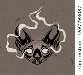 occult cat's head with burning...   Shutterstock .eps vector #1697293087
