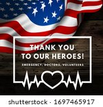thanks for the heroes helping... | Shutterstock .eps vector #1697465917