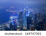 hong kong skyscrapers at night | Shutterstock . vector #169747301