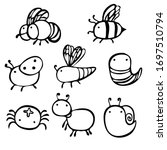 insects drawn by a line. set of ... | Shutterstock .eps vector #1697510794